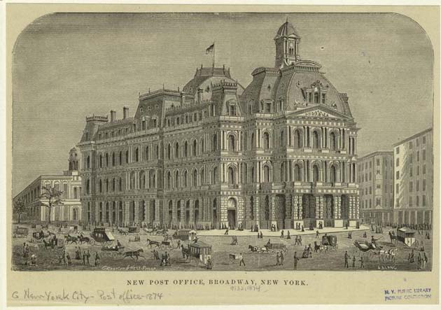 New York City Hall Post Office - Broadway - 1875